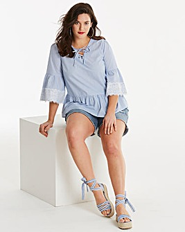 Blue Stripe Blouse With Eyelets