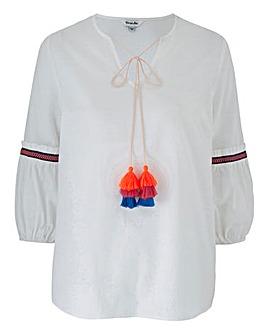 White Tassel Trim Fluted Sleeve Blouse