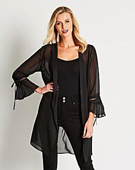 Black Longline Lace Trim Kimono