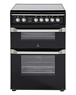 Indesit 60cm Ceramic Double Oven - Black