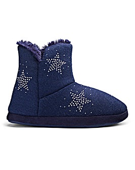 Star Knit Boot Slipper Wide Fit