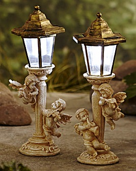 Set of 2 Cherub Solar Post Lights