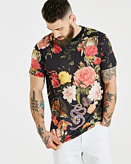 Jacamo Snakes and Floral T-Shirt Long