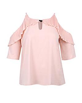 Koko Pale Pink Cold Shoulder Frill Top