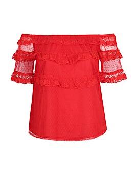 Koko Red Lace Frill Bardot Top
