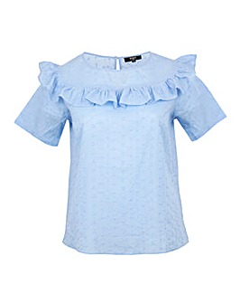 Koko Blue Broidery Englais Frill Top