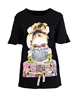 Koko Black Longline Graphic T-shirt