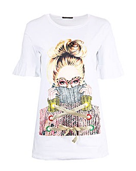 Koko White Longline Graphic T-shirt