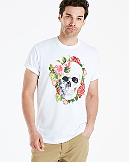 Jacamo Floral Skull T-Shirt Regular