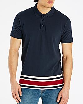 Jacamo Stripe Hem Polo Long