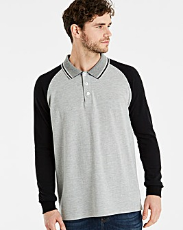 Jacamo Long Sleeve Raglan Polo Reg