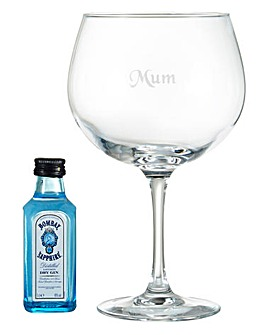 Personalised Extra Large Gin Glass and 5