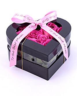 Pink Rose Heart Box