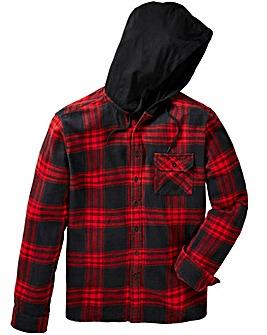 Label J Hood Print Check Shirt Regular