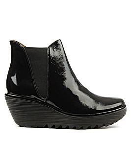 Fly London Black Patent Ankle Boot