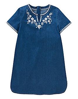 Girls Denim Embroidered Dress