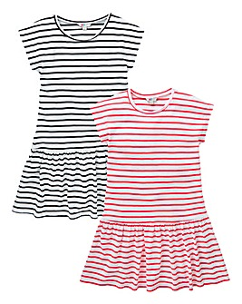 Girls Pack of Two Striped Dresses