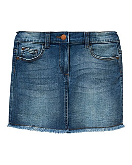Girls Frayed Hem Denim Skirt
