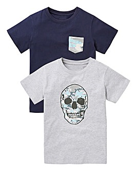Boys Pack of Two Skull Print T-Shirts