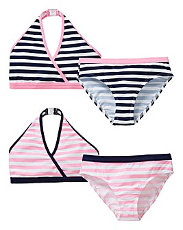 Girls Pack of Two Striped Bikini