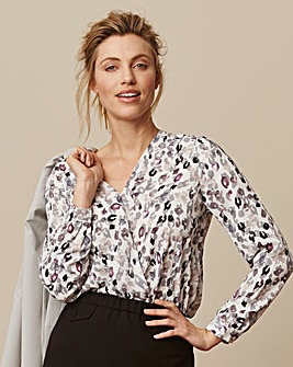 Animal Print Bubble Hem Wrap Blouse