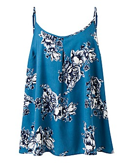 Blue Floral Strappy Cami Top