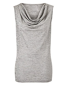 Silver Metallic Cowl Neck Top