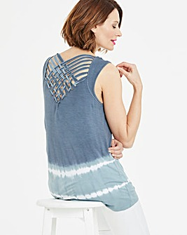 Tie Dye Lattice Back Vest