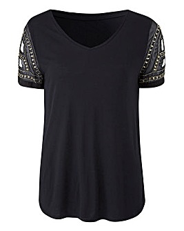 Embellished Woven Sleeve Top