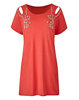 Petite Embellished Cut Out Sh