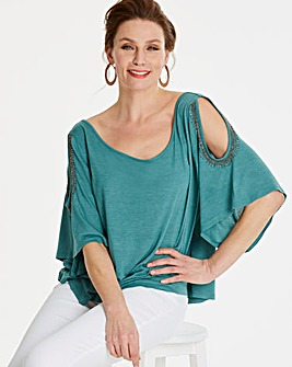 Embellished Cold Shoulder T