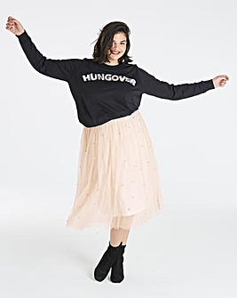 Hungover Sequin Slogan Sweatshirt