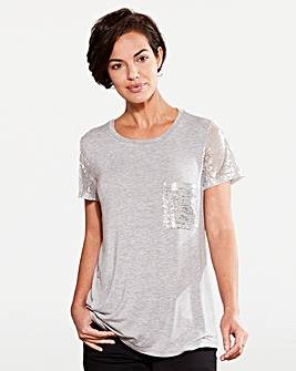 Sequin Sleeve and Pocket T-shirt