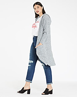Soft Touch Longline Hooded Cardigan