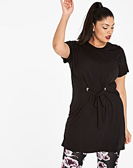 Black Draw Waist Tunic with Eyelets