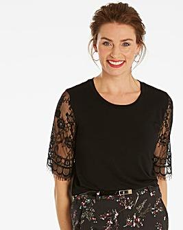 Black Lace Sleeve T-shirt