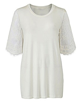 Ivory Lace Sleeve T-shirt