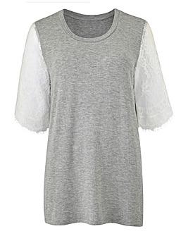 Grey / White Lace Sleeve T-shirt