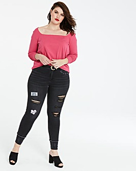 Square Neck Long Sleeve Top
