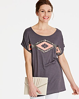 Embellished Aztec T-shirt
