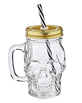 Glass Skull Drinking Jar with Straw