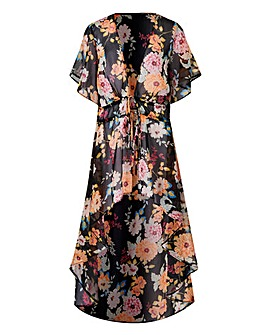 Black Floral Tie Front Kimono