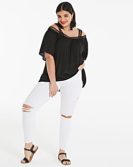 Black Crochet Trim Cold Shoulder Top