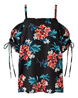 Black Floral Ruched Sleeve Bardot