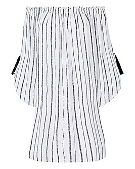 Black/White Crinkle Tunic With Tassels