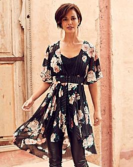 Joanna Hope Hi Low Hem Kimono Blouse