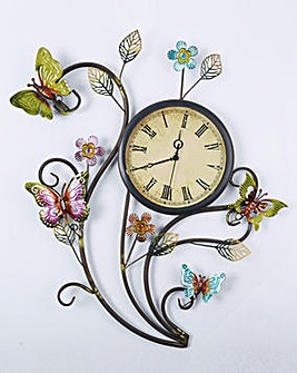 Butterfly Wall Art with Clock