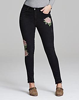 Chloe Rose Embroidered Skinny Jean Reg
