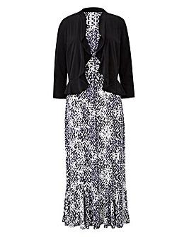 Grey Animal Print Dress & Shrug L45