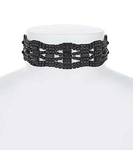 Mood Jet Diamante Choker Necklace
